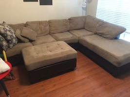 Brown suede sectional