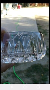 Clear glass ashtray with engraving. Lancaster