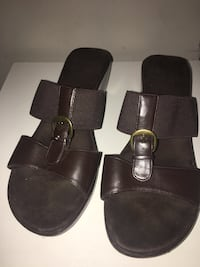 Pair of brown open-toe mule sandals