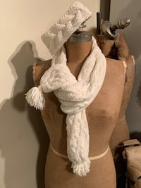 Ivory Cable knitting style scarf and headband