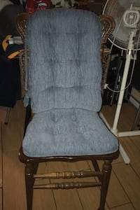 Desk chair with two thick blue cushions