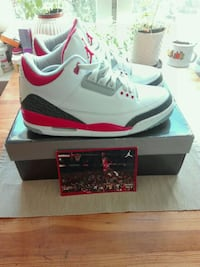 Nike Air Jordan 3 white/ fire red cement grey size 43. uk 8.5  Grünerløkka, 0175