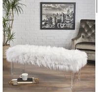 Brand New, White Fur Bench with Clear Acrylic Legs Houston, 77092
