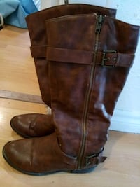 pair of brown leather knee-high boots Windsor, N9A 2L1