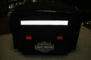 Harley Davidson Picnic Cooler Insulated Motorcycle Saddle Bag Plates & Utensils With Picnic Pad.