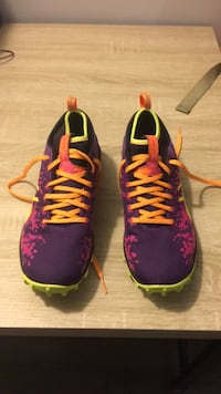 Pair of purple and orange ASICS training shoe District Heights, 20747