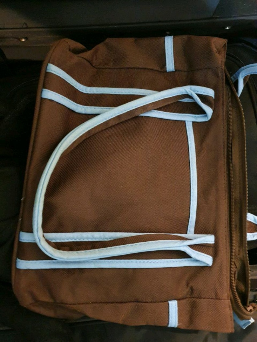 Photo Brown and blue small diaper bag