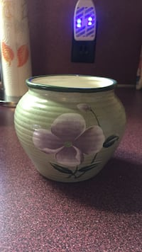 gray and purple flower painted ceramic vase