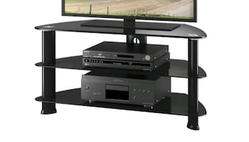 Black TV Stand with 3 Tier Glass