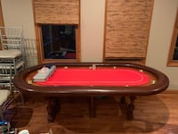 Wooden poker and card game table