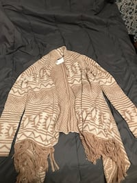 brown and white tribal print cardigan