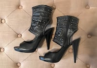 BCBG Black Leather Rhinestone Peep-Toe Bootie Simi Valley, 93065