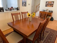 Rectangular brown wooden table with chairs dining set. 7 piece Oak Veneer. Near perfect condition   Crofton, 21114