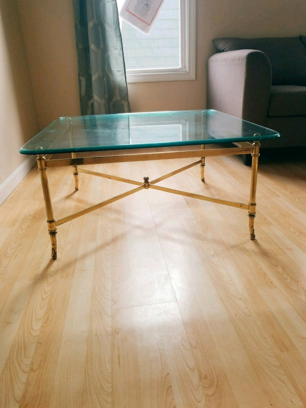 Gold framed glass table