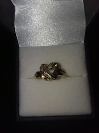 silver and black gemstone ring in box Hickory, 28602