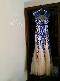 blue and white floral mesh neckline tank gown Clinton, 06413