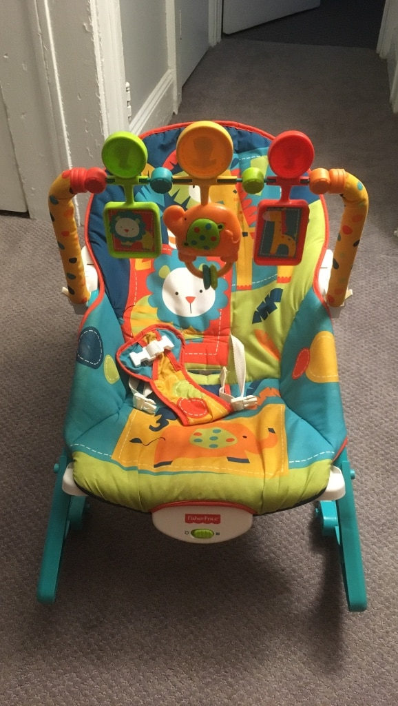 used baby s blue yellow green and orange fisher price bouncer for rh tr letgo com