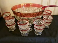 Diamond Cut Ruby Red & Clear Glass Punch Bowl Set Coraopolis, 15108