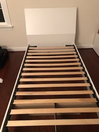 white and brown wooden bed frame CROFTON