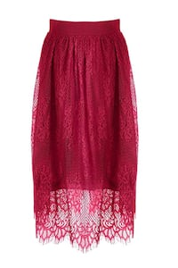 Red Burgundy Lace Skirt