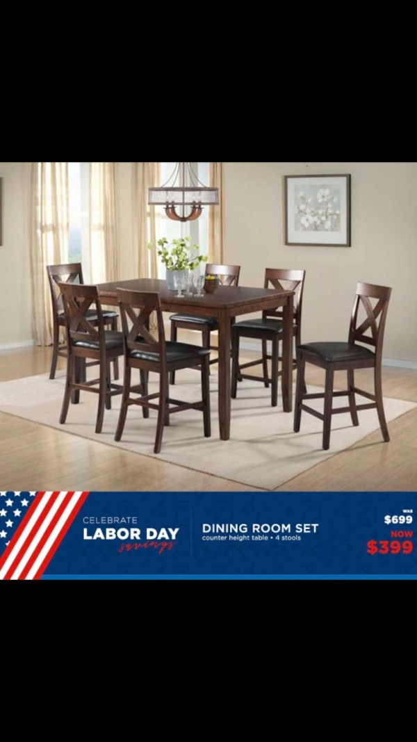 Used Rectangular Brown Wooden Dining Table With Chairs Set For Sale In Sayreville