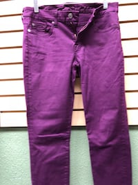 purple and black denim jeans