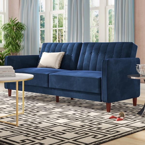 Blue Velvet Convertible Sofa