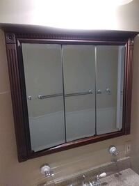 square brown frame mirror