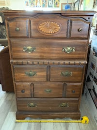 Vintage Five Drawer Faux Wood Dresser