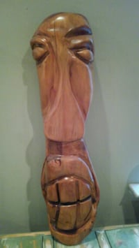 Hand carved tiki/ wall hanging. Old growth Cypress.  Virginia Beach, 23454