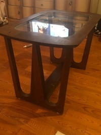 brown wooden framed glass top table Philadelphia, 19106