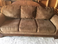 2 year old Brown suede 3-seat sofa free delivery  Calgary, T3E 6X1