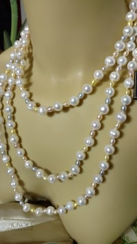 Long Freshwater Cultured Pearl Necklace Round Lake