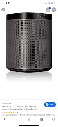 2 SONOS Play 1 speakers with Stands half price Edmonton, T6M 2P1