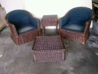 two brown wicker armchairs with black pads Fredericksburg, 22406