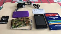 Smart phone lg 840g tracefone with 2backs black or purple an extra battery for 2 all together a new sims card and charger and includes a camouflage case