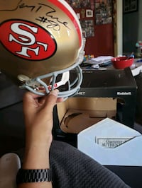 49ers helmet,  signed by Jerry Rice,  with certificate. Long Beach, 90806