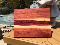 Live edge cedar featuring a russet red river encased in resin wall/table art Hampton, 23669