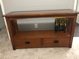 Glass Top Accent Table w/ Drawers