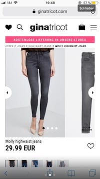 Frauen schwarz Molly Highwaist Denim Jeans Screenshot Berlin, 13505