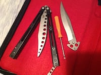 New balisong knife with trainer an live blade + sheath  Powell, 37849
