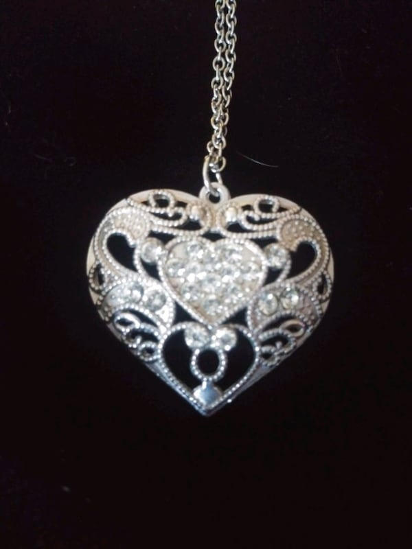 Silver heart necklace with rhinestones heart within a heart 36487bef-32bd-4edf-9a4c-493207946a7f