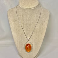 Sterling Silver Baltic Amber Cabochon Pendant with Sterling Rope Chain  Ashburn, 20147