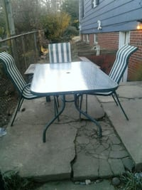 Large Glass Top Patio Table and Three Chairs  Washington, 20015