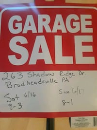 red and white Garage Sale signage Brodheadsville, 18322