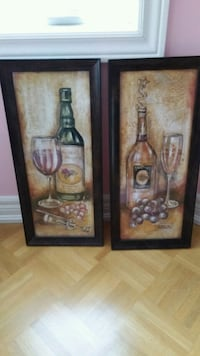 two black wooden framed painting of flowers Vaughan, L4H 3M4