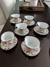 Cups & saucer plate (floral design - set of 6)  Toronto, M9N 2C9