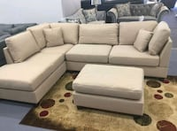 Brand New Sand Color Linen Sectional Sofa +Ottoman Silver Spring, 20902