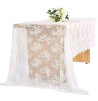 Qty.4 - white lace party wedding tablecloths