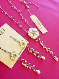 Beautiful MONET * Jewelry set  Floral long earrings with classy Mother of Perls necklace Alexandria, 22311
